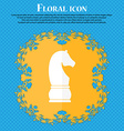 Chess knight icon icon Floral flat design on a vector image
