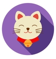 Lucky cat icon flat vector image