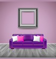 Modern interior with purple sofa vector image