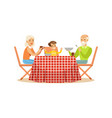 grandmother grandfather and grandson having lunch vector image