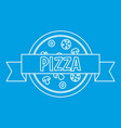 Pizza restaurant label with ribbon icon vector image
