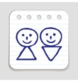 Doodle Man and Woman icon vector image