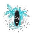 Surf board and palm trees emblem tshirt print vector image