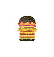 big burger cartoon fast food black vector image