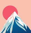 Blue mountain with snowy peak Sun vector image