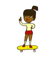Comic cartoon skater girl vector image