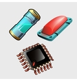 Microchip red button and bulb with liquid vector image