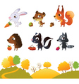 Set of cartoon forest animals vector image