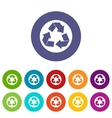Recycle sign set icons vector image