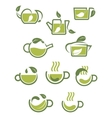 Green herbal tea icons vector image vector image