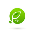 Letter O eco leaves logo icon design template vector image