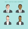 Set of icons Male and female call center avatars vector image