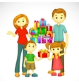 Family with Holiday Gift vector image