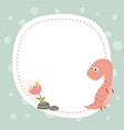 greeting card with cartoon dinosaur greeting card vector image