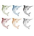 Marlin fish set vector image