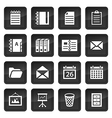 Office and document icons with black buttons with vector image