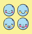 set emoji faces in whatsaap chat app vector image
