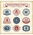 Vintage Christmas stamps set vector image