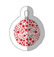 sticker christmas wreath of glass with star vector image