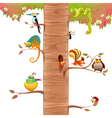 Funny animals on branches with white background vector image