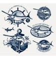 Vintage swordfish sea fishing emblems vector image