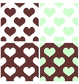 Seamless pastel hearts tile background set vector image
