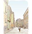 Antique European street Summer city landscape vector image