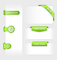Collection of glossy rounded green 3d stickers on vector image