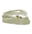 Woodcut Vineyard Landscape vector image