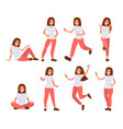 set of woman in casual clothes in different poses vector image