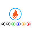skull fire rounded icon vector image