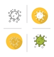 Virus flat design linear and color icons set vector image