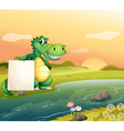 An alligator with an empty board at the riverside vector image