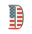 capital 3d letter d with american flag texture vector image