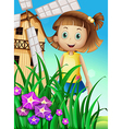 A girl watching the flowers in the garden near the vector image