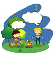 Two boys camping out at night vector image vector image