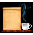 Restaurant menu on the old paper and coffee vector image vector image