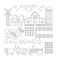 Farm line organic set vector image