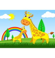 giraffe in meadow vector image