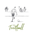 Hand drawn football player with lettering vector image