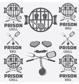 prison bbq concept labels set vector image