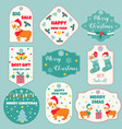 set of holiday badges and tags with cute dogs vector image