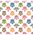 seamless pattern with cute colorful owls and vector image