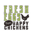fresh eggs poster design typography green and vector image