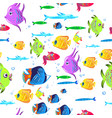 Fishes seamless pattern cute cartoon aquarium vector image