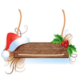 christmas wooden signboard vector image vector image
