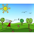 Spring nature with trees Doodle vector image