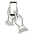 hand holding smart phone with tap finger on the vector image