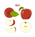 juicy red apple and apple slices isolated vector image