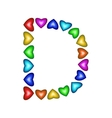 Letter D made of multicolored hearts vector image